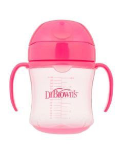 Dr.Browns Trening Čaša Meki Kljun S Ručkicama Roza 180 ml