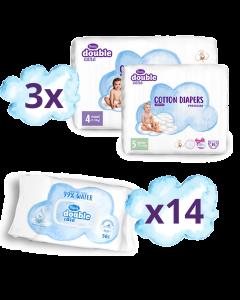 Violeta SUPER Paket 3x Premium Pelene + 14 paketa baby maramice 99% voda