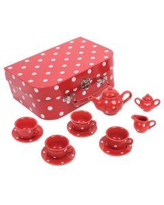 Bigjigs Crveni Set Za Čajanku Sa Točkicama