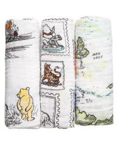 Aden+Anais tetra pelene Winnie The Pooh , 3 kom, 70x70
