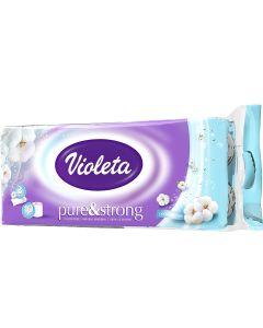 Violeta Toaletni papir 10/1, 3sl., pure&strong, bez boje i mirisa