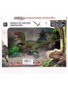 Velociraptor dinosaur sa jajem i biljkama